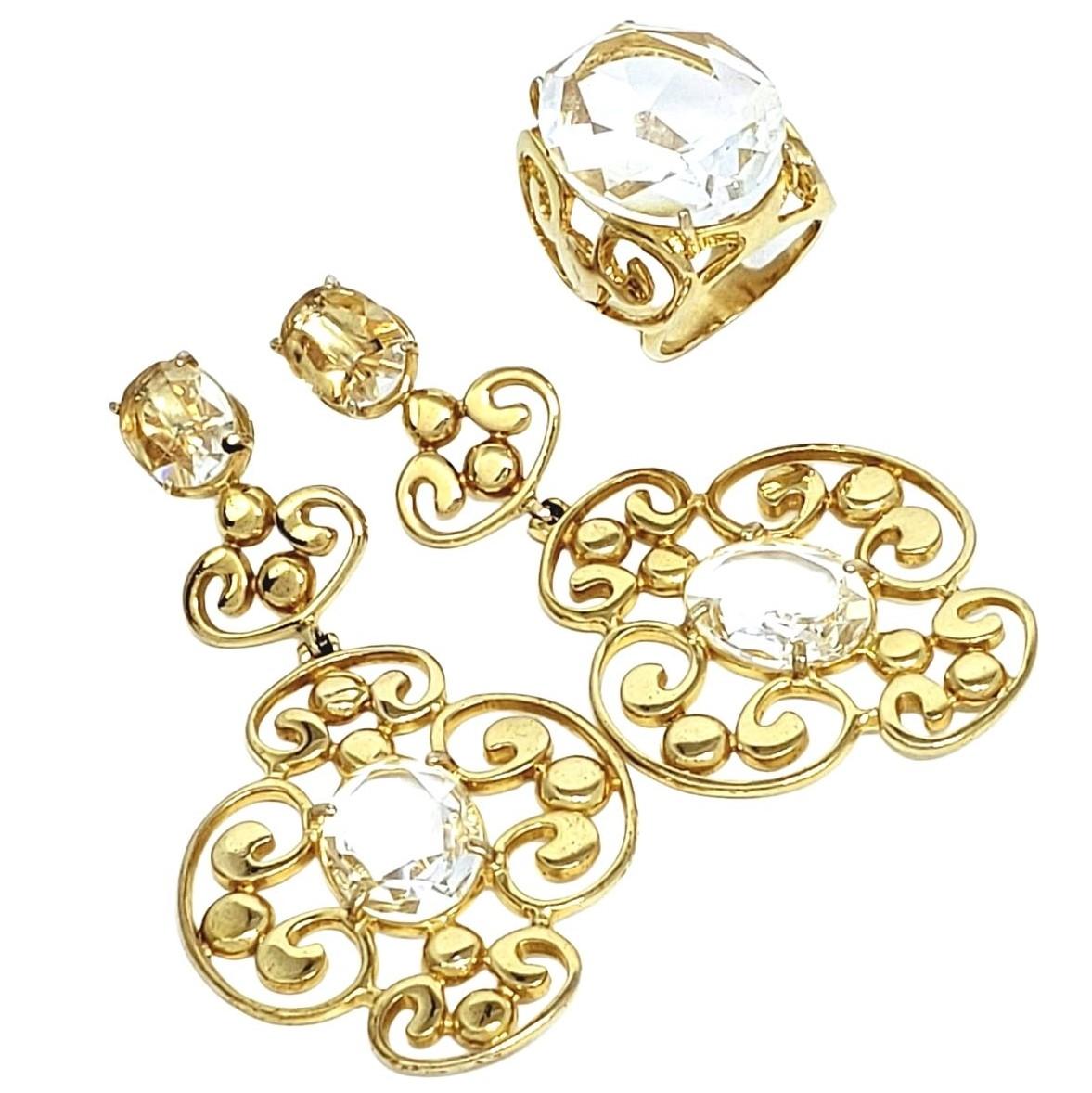 Anel E Brincos Cristal Mosaico Banho De Ouro 18k 1376 1416