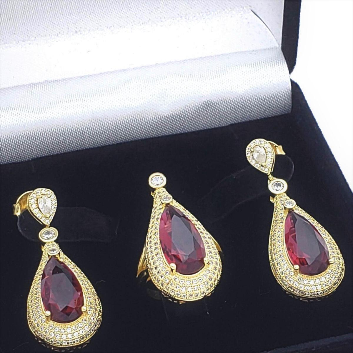 Anel E Brincos Gota De Cristal Cravejados Com Zirconias Banho De Ouro 18k 2396 2397