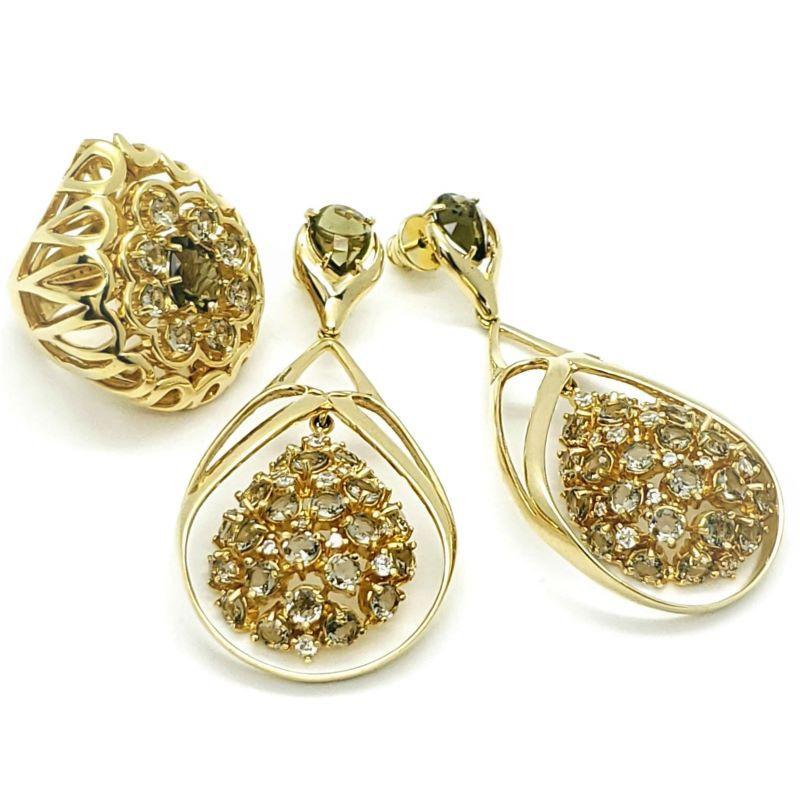 Anel E Brincos Green Gold E Cristal De Rocha Banhados A Ouro 18k 1121 1122