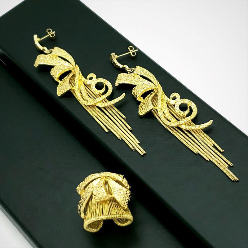 Anel e Brincos Laços e Franjas Banho de Ouro 18k 1506 1609