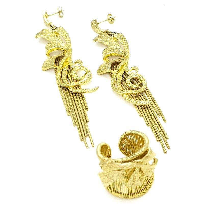 Anel e Brincos Com Laços e Franjas Banho de Ouro 18k 1506 1609