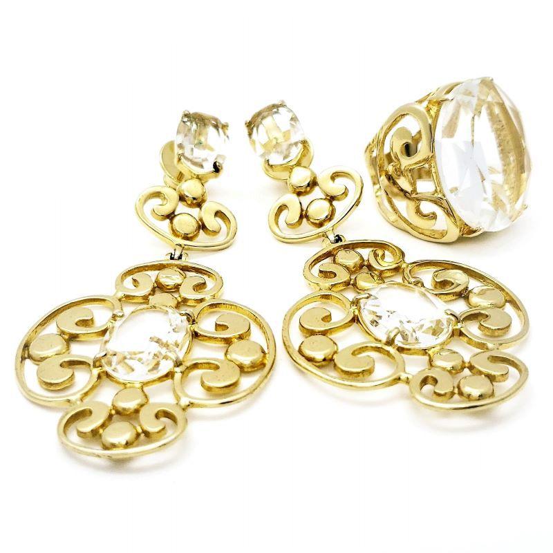 Anel E Brincos Cristal de Rocha Mosaico Banhados A Ouro 18k 1376 1416