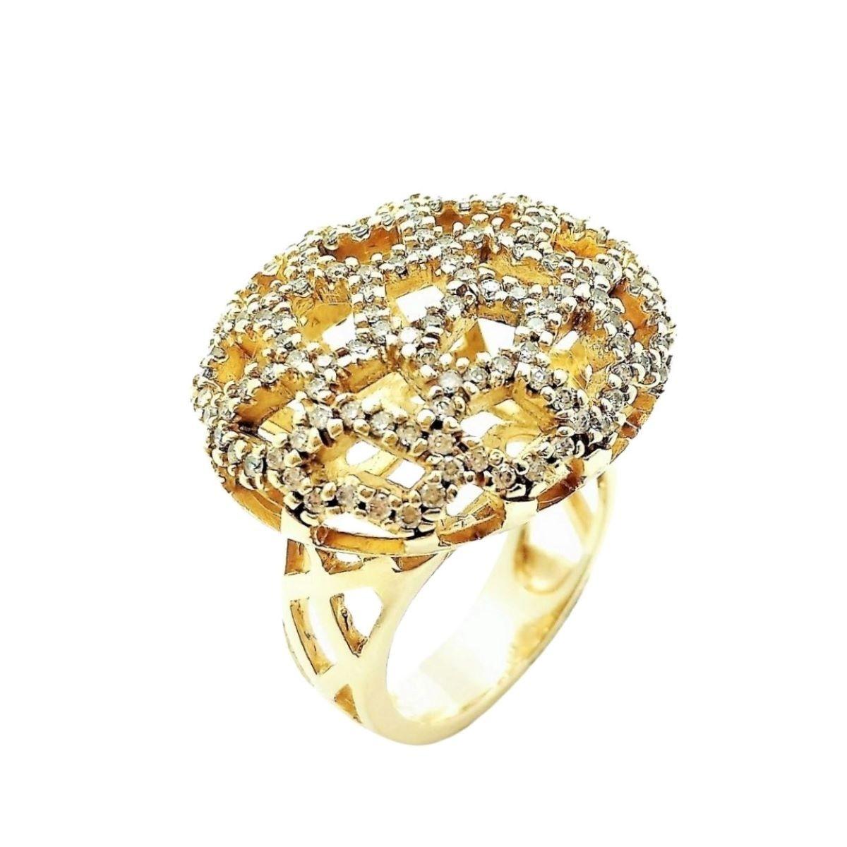 Anel e Brincos Queen Cravejados Com Zirconias Banho De Ouro 18k 776 777