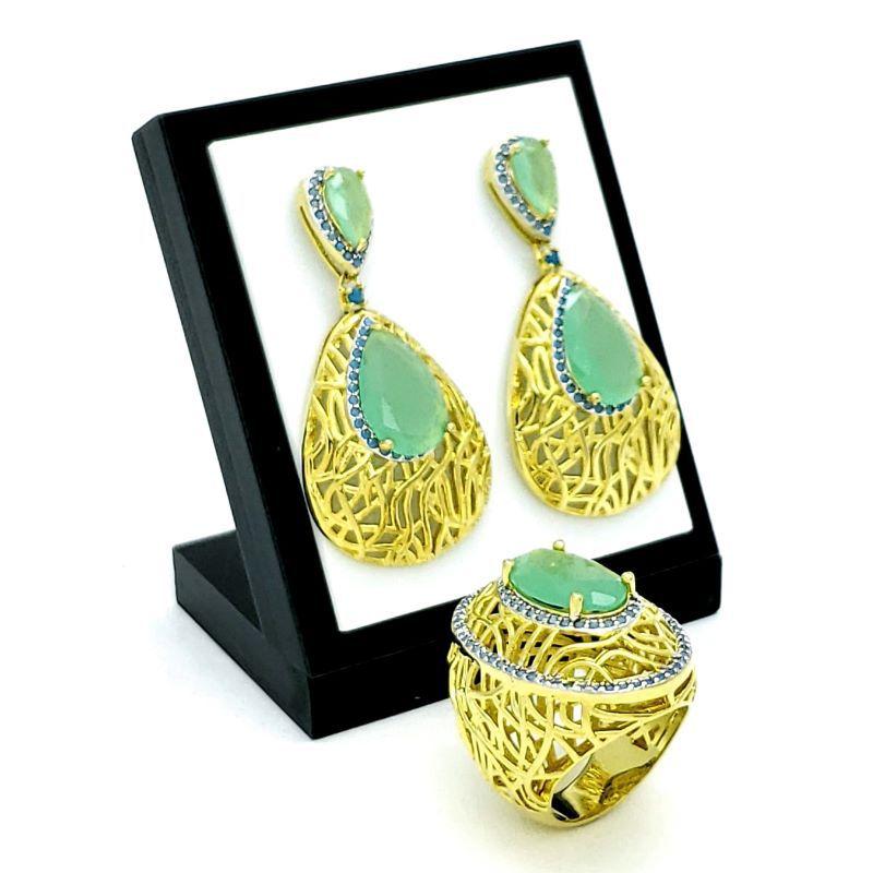 Anel E Brincos Verde Jade Cravejado Turquesa Banho De Ouro 18k 4034 4035