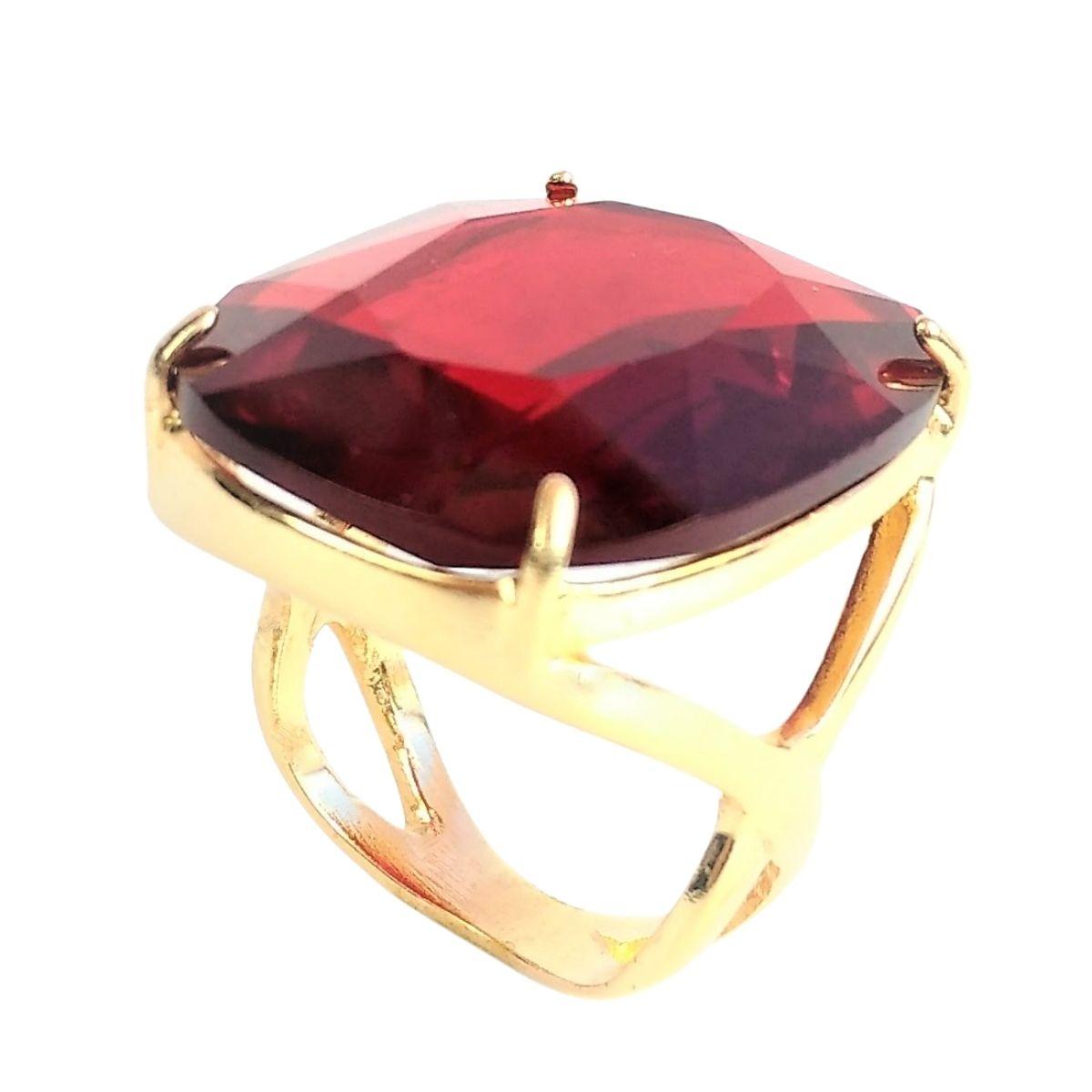 Anel E Brincos Vermelho Rubi Florão Banho De Ouro 18k 1058 1086