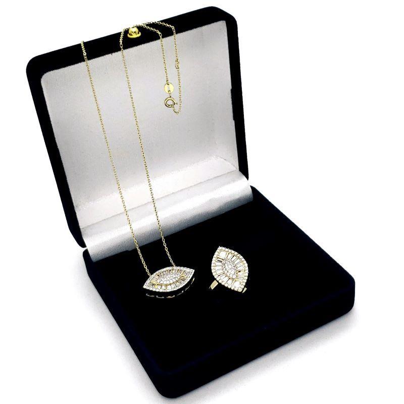 Anel Colar Pingente Em Prata Com Banho De Ouro 18k Zirconias Baguete E Cravejado  1273 1670