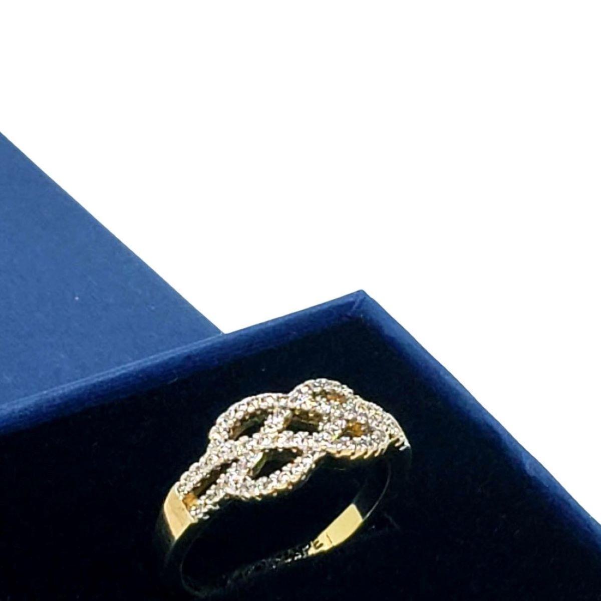 Anel Entrelace Cravejado De Zirconias Banho De Ouro 541