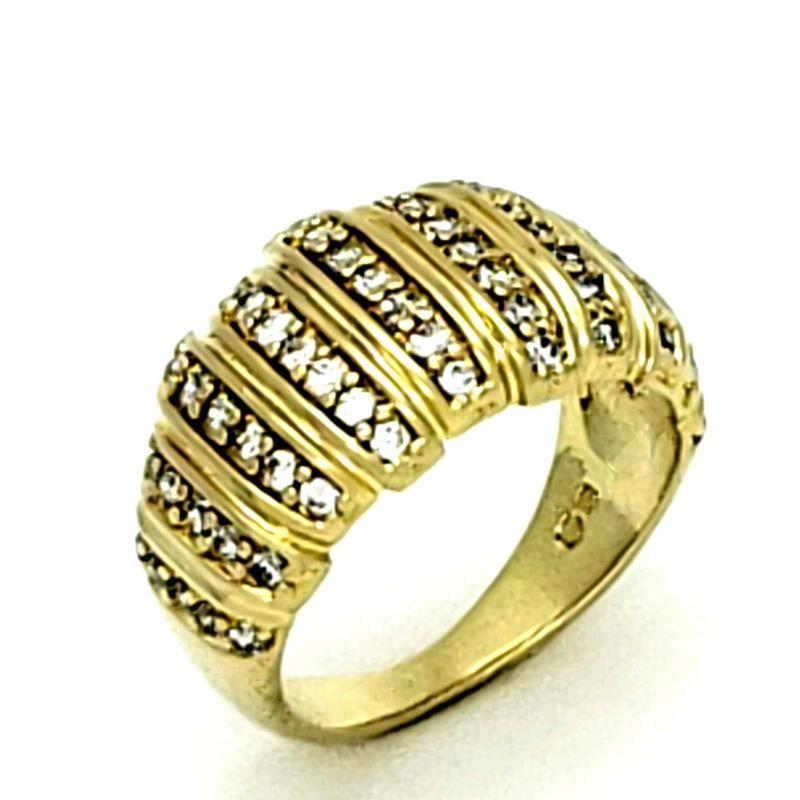 Anel Em Prata No Banho De Ouro 18k Faixas Com Cravejado de Zirconias 1274