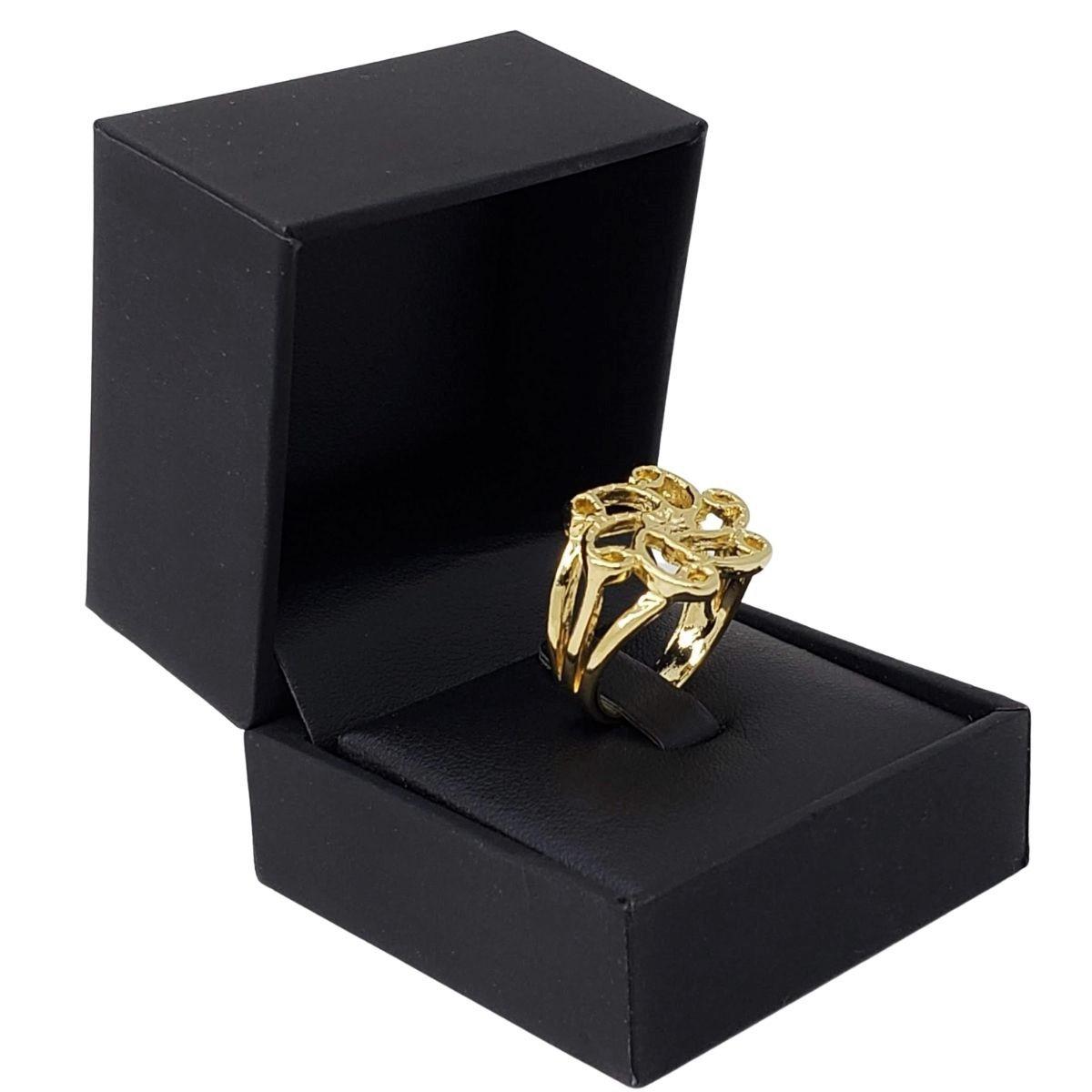 Anel Flor Banho De Ouro 18k 2665