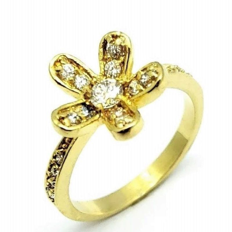 Anel Flor Cravejada De Zirconias Banhado A Ouro 18k 1167