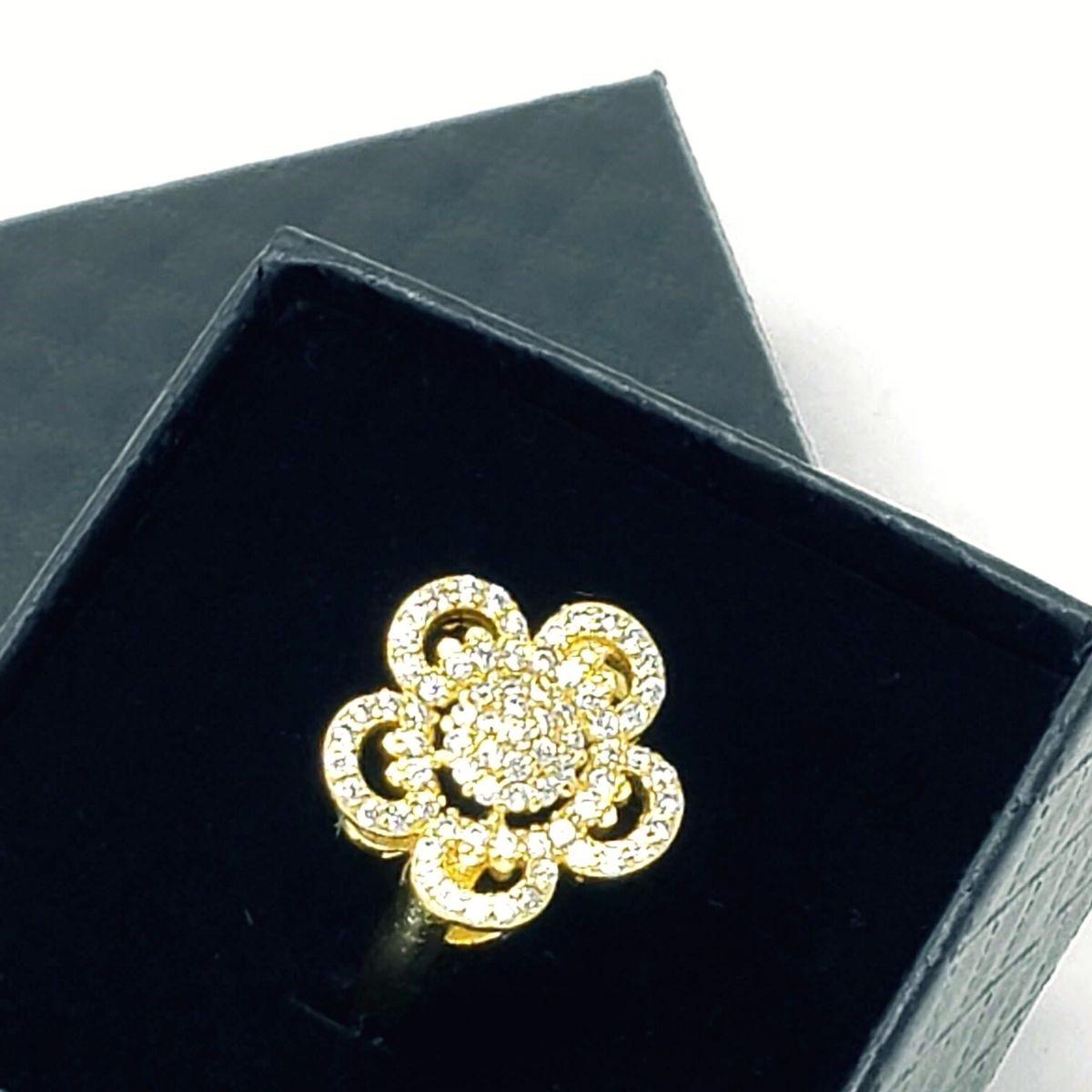 Anel Flor Cravejado Com Zirconias Banho De Ouro 18k 1902