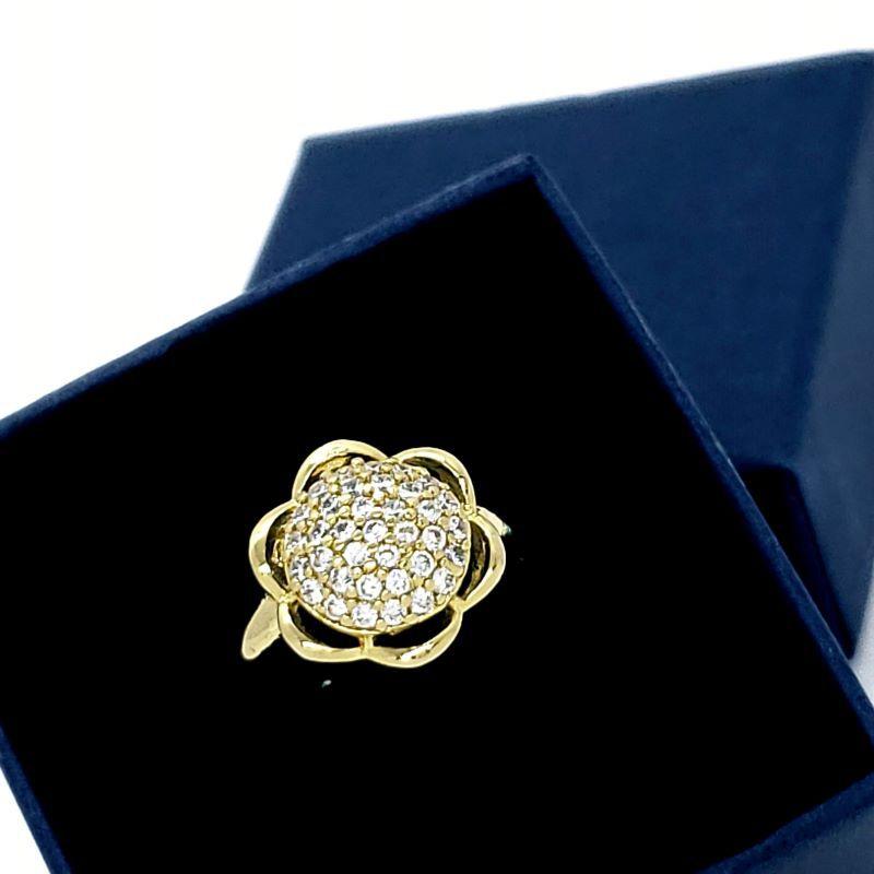 Anel Flor Cravejado De Zirconias Banho De Ouro 18k 1816
