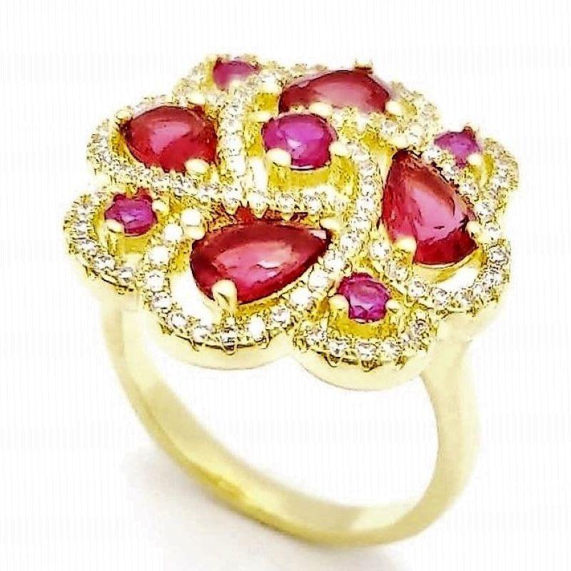 Anel Flor Cristais Pink Cravejado Banho De Ouro 18k 2399