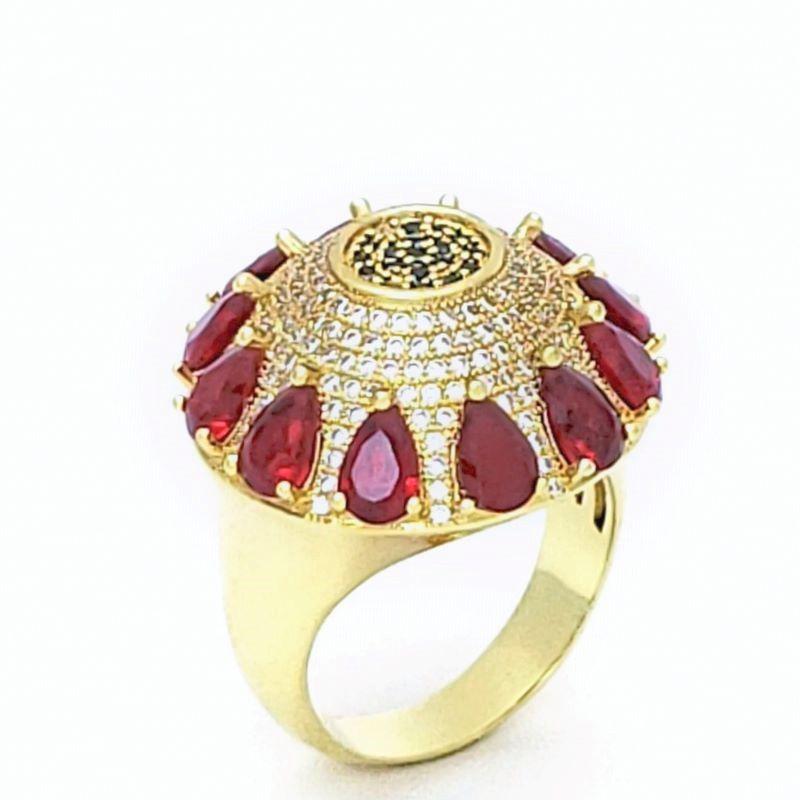 Anel Flor Cristais Vermelho Rubi Cravejado Pavé Banho De Ouro 18k 2402