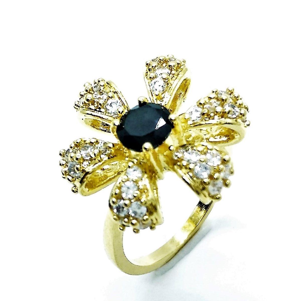 Anel Flor Cristal Preto Ônix E Cravejado De Zirconias Banho De Ouro 18k 1900