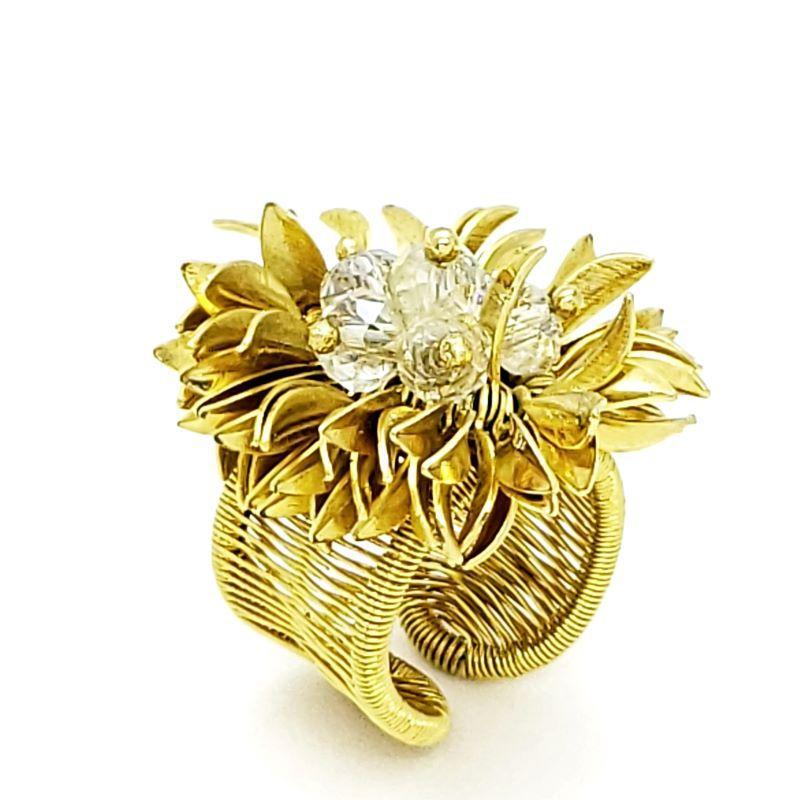 Anel Flor De Cristal Com Pétalas Douradas Ajustável Banho De Ouro 18k 1605