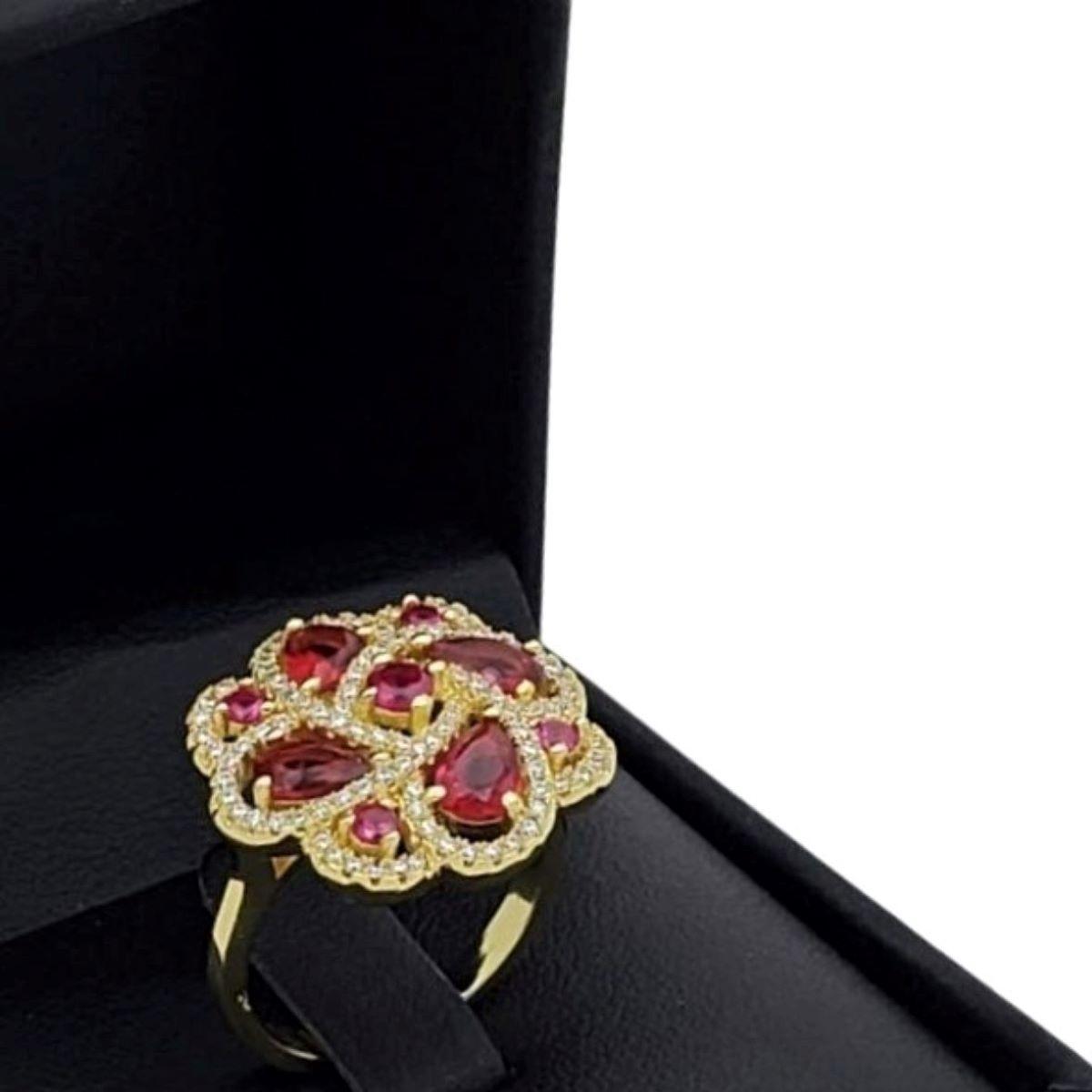Anel Flor Pink Rubelita Cravejado Banho De Ouro 18k 2399