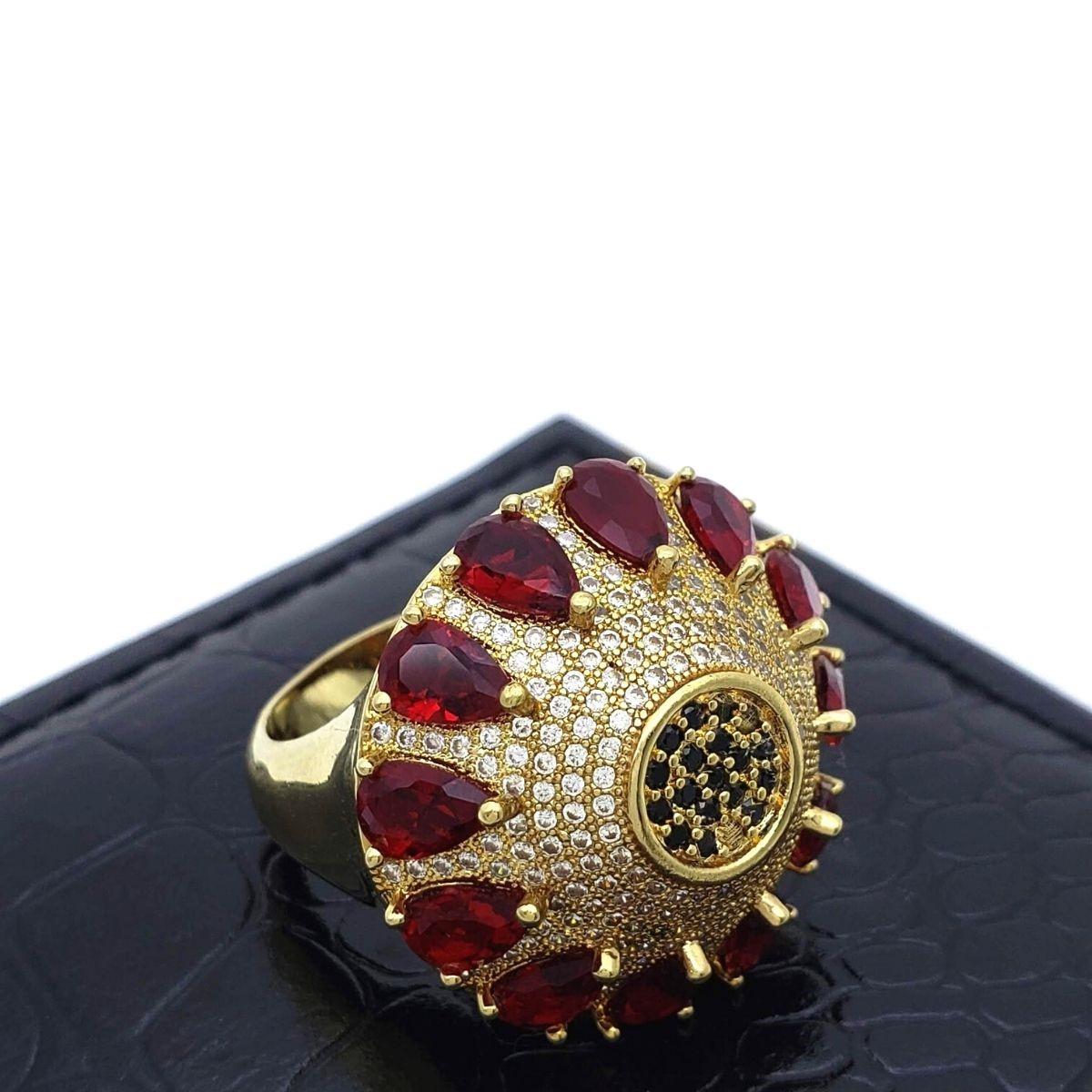 Anel Flor Vermelho Rubi Cravejado Pavé Banho De Ouro 18k 2402