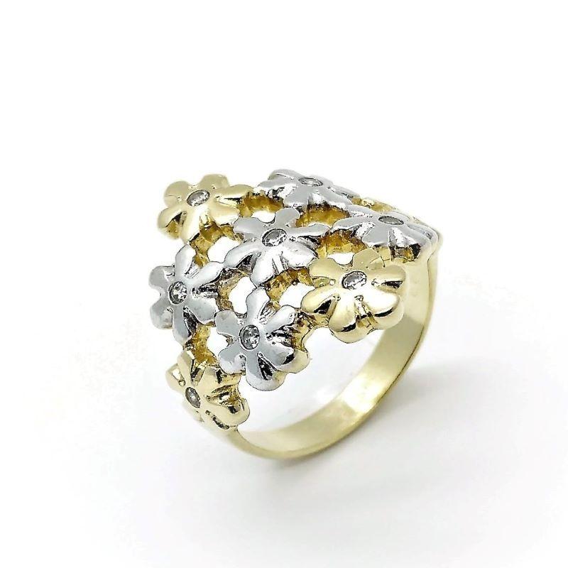 Anel Flores Cravejado Com Zirconias Banho De Ouro 18k  529