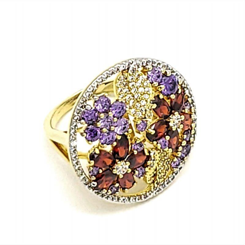 Anel Floral De Zirconias Com Cravação Banho De Ouro 18k 2528