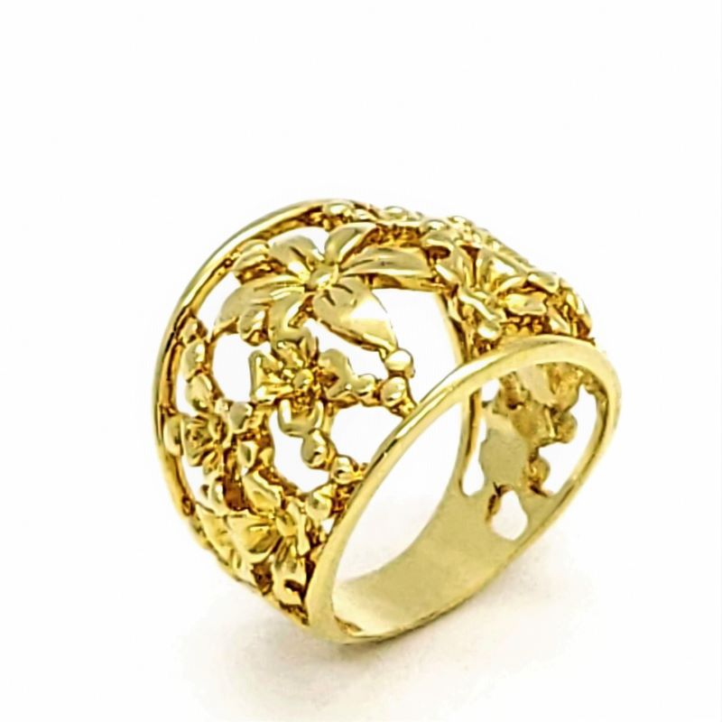 Anel Flores Desenhado Banho De Ouro 18k 1594