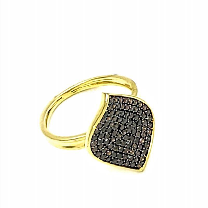 Anel De Prata Em Banho De Ouro 18k Cravejado De Zirconias 1271