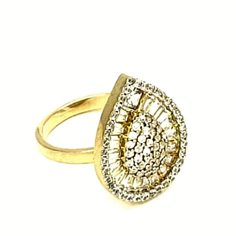 Anel Gota Zirconias Baguete e Cravejado Em Prata Banhada A Ouro 18k 1276
