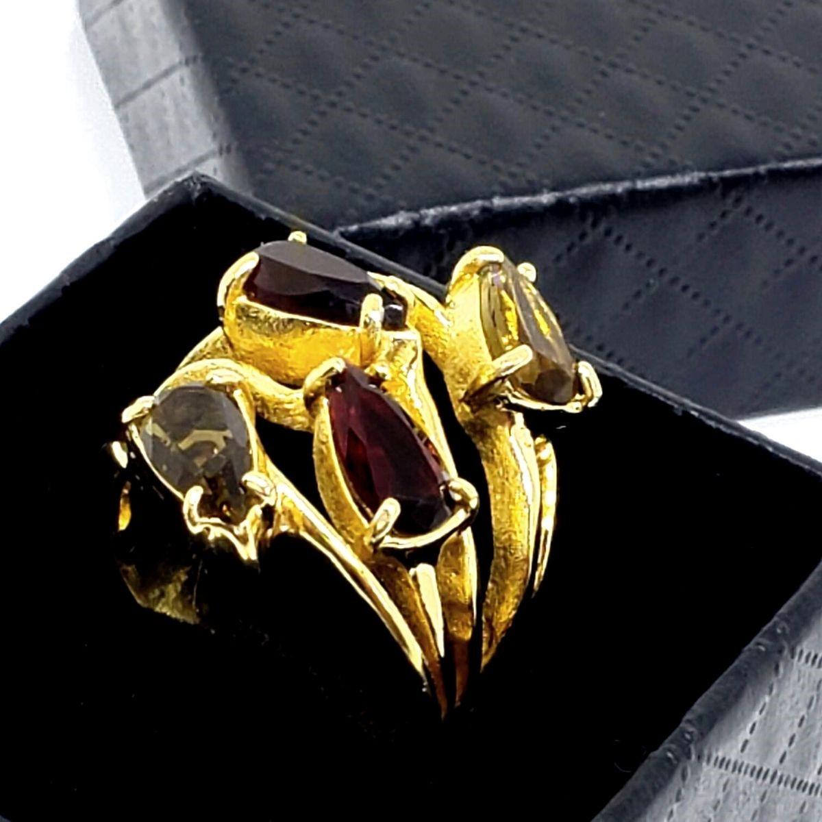 Anel Gotas De Pedra Cristal Ramos Banho De Ouro 18k 1415