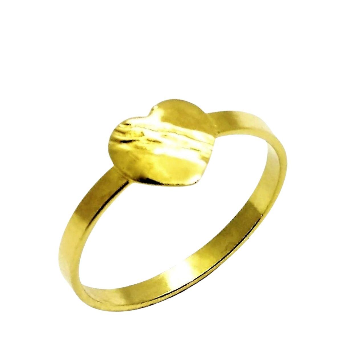 Anel Infantil Coração Banho De Ouro 18k 2457