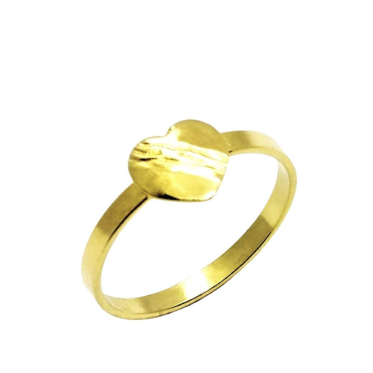 Anel Infantil Coração Com Faixa Cruzada Banho De Ouro 18k 2457