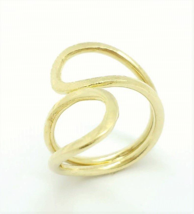 Anel Infinito Aro Duplo Tubular Corrugado Banhado A Ouro 18k 2203