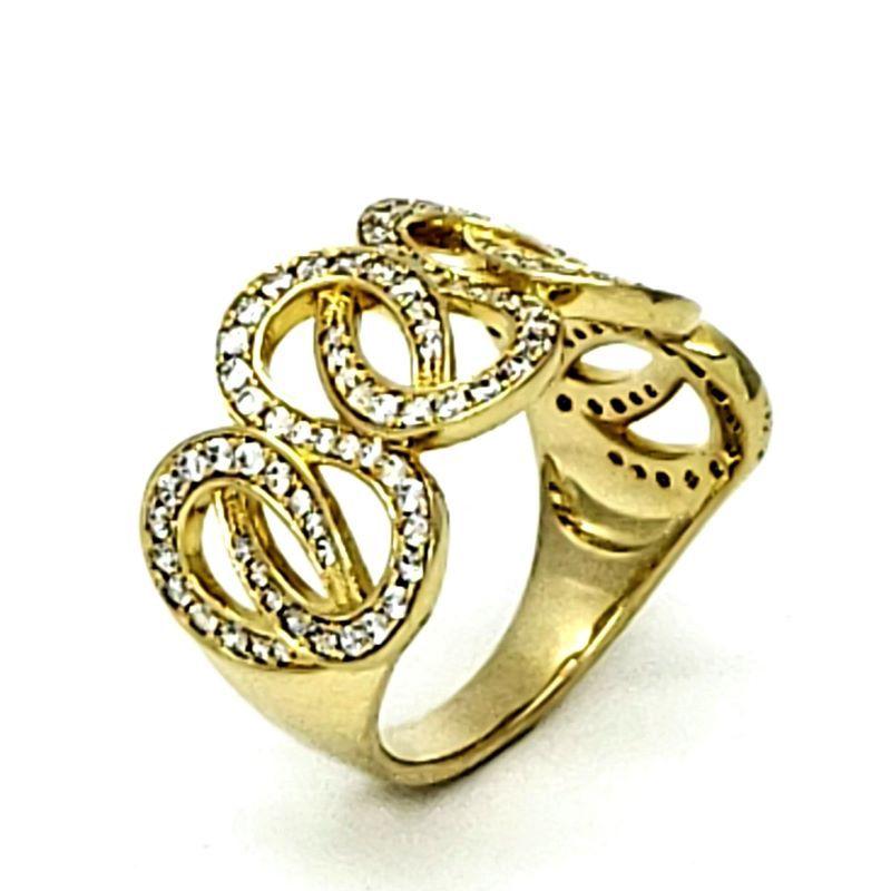 Anel Infinito Entrelace Cravejado Zirconias Banhado A Ouro 18k 1435