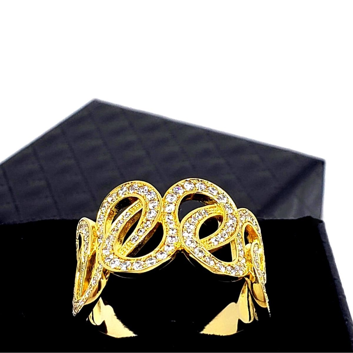 Anel Infinito Entrelace Cravejado Zirconias Banho De Ouro 18k 1435