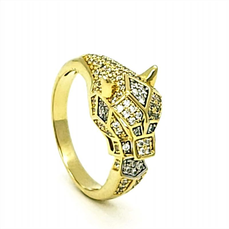 Anel Pantera Jaguar Cravejado De Zirconias Cristal Banhado A Ouro 18k 1436