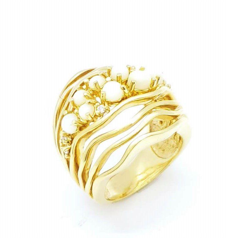 Anel Madrepérola Cravejado Zirconias Banho Ouro 18k 870