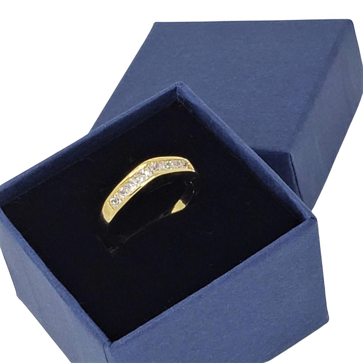 Anel Meia Aliança Aparador Com Zirconias Banho De Ouro 18k 1194