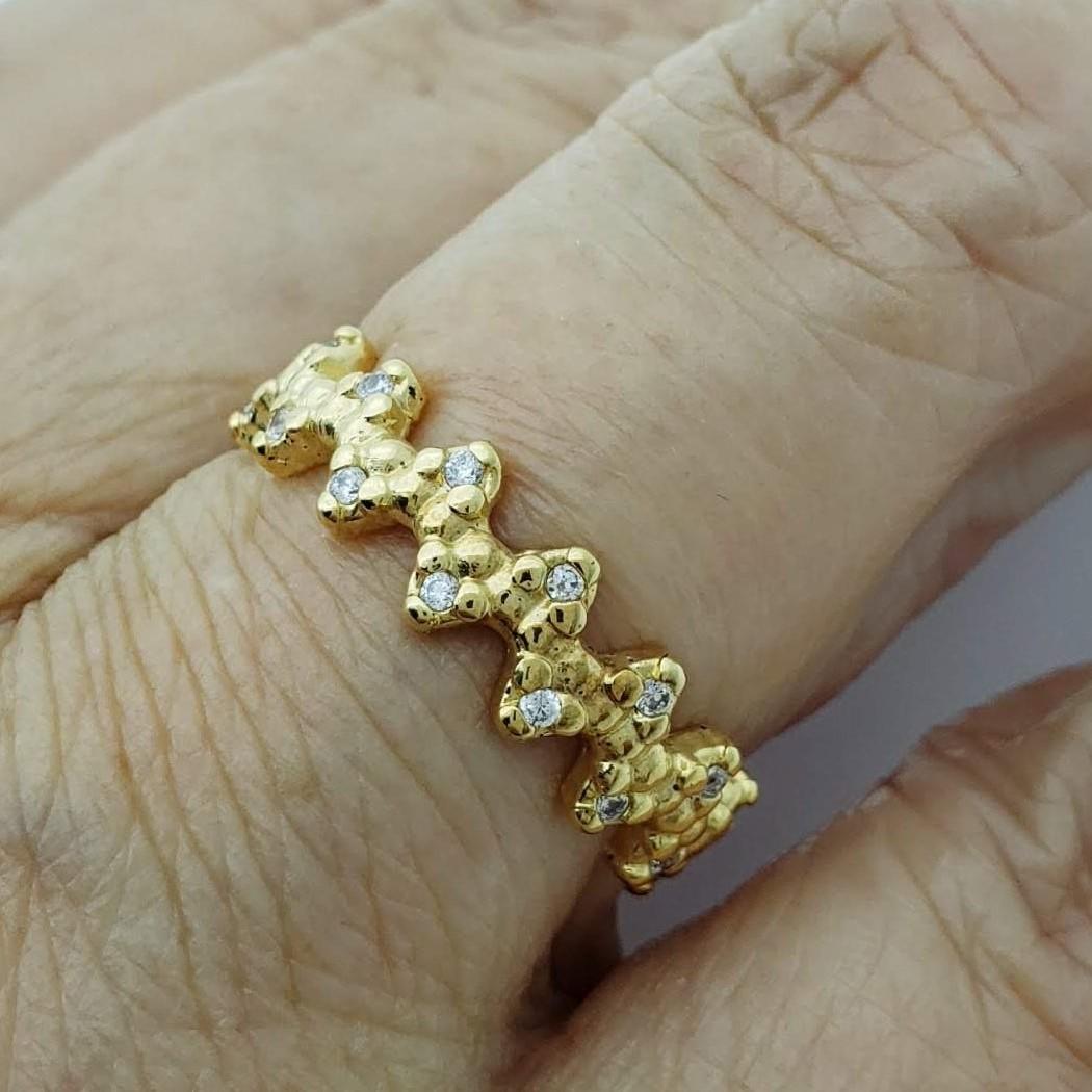 Anel Meia Aliança Cravejada Com Zirconias Banho De Ouro 18k 2277