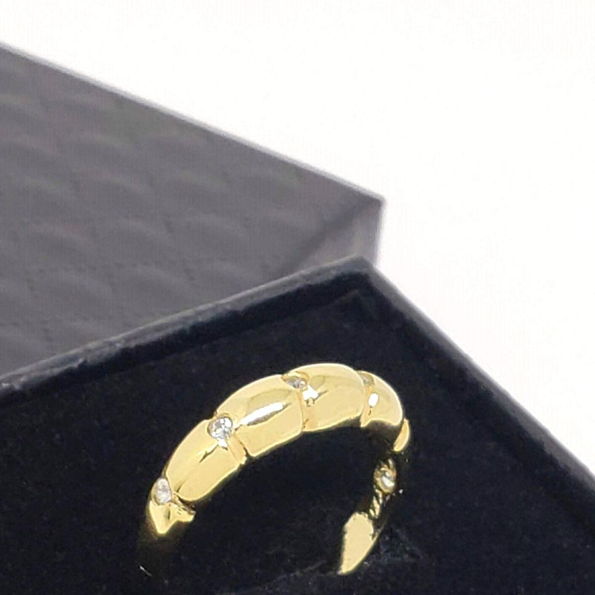 Anel Meia Aliança Cravejado Com Zirconias Banho De Ouro 18k 525