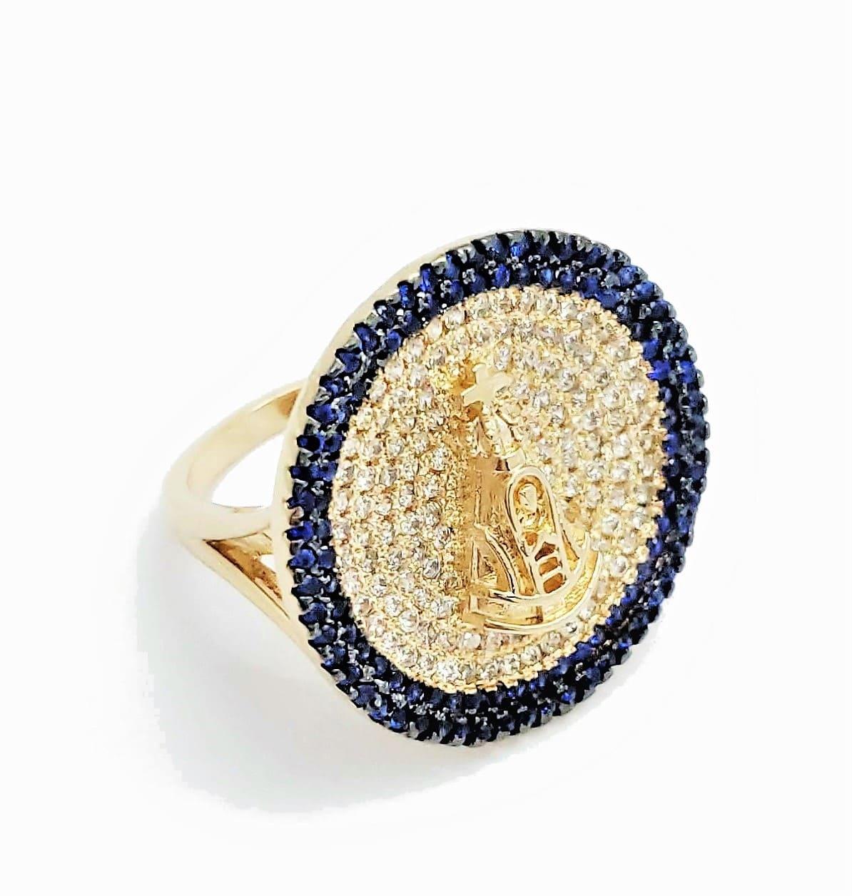 Anel N Sra Aparecida Círculo Cravejado Zirconias Banhado A Ouro 18k 4579