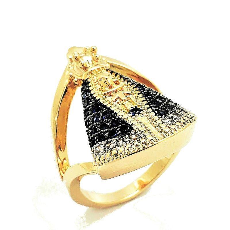 Anel Nossa Senhora Aparecida Cravação Zirconias Banhado A Ouro 18k 4578