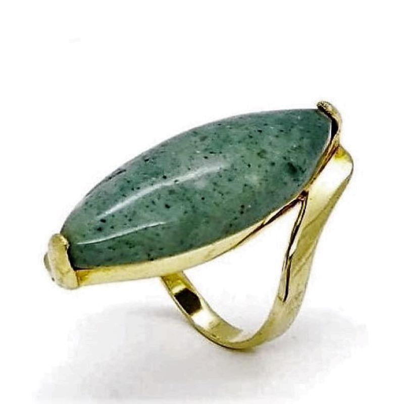 Anel Com Pedra Jaspe Verde Navete Banho De Ouro 18k 178
