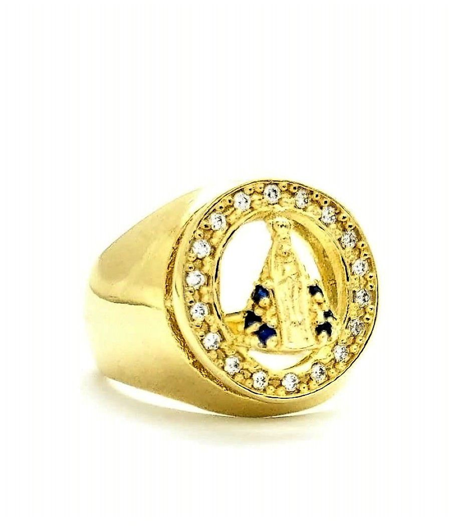Anel Nossa Senhora Aparecida Cravejado Zirconias Banhado A Ouro 18k 2263