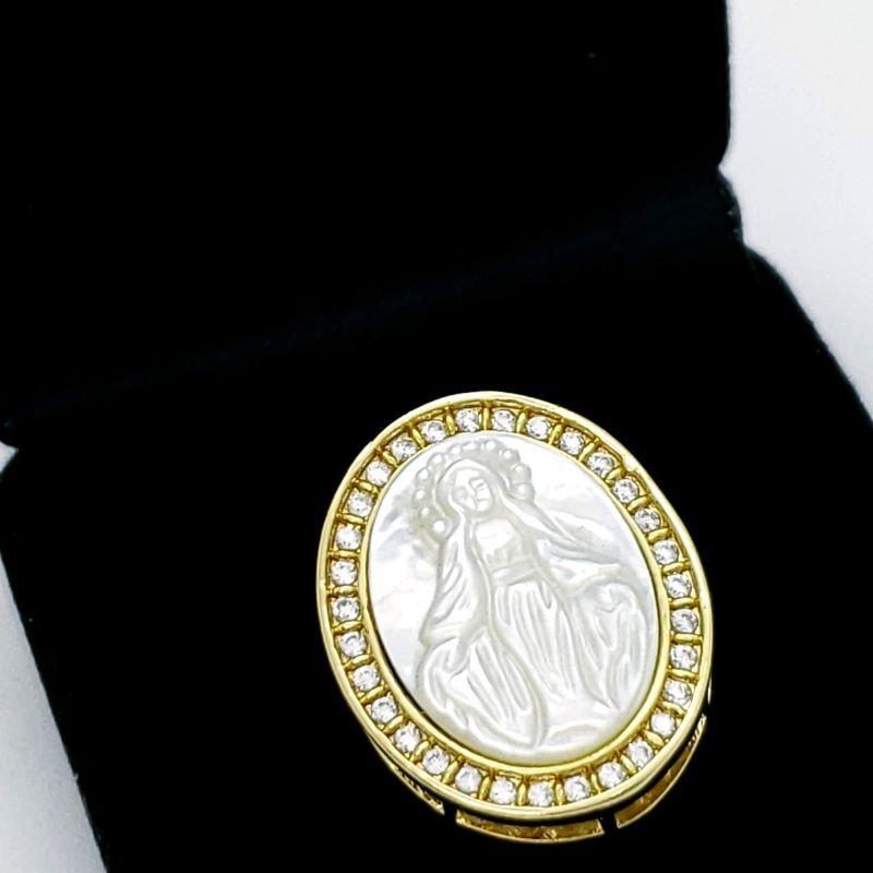 Anel Nossa Senhora Das Graças Em Madrepérola Cravejado De  Zirconias Banho De Ouro 18k 1782