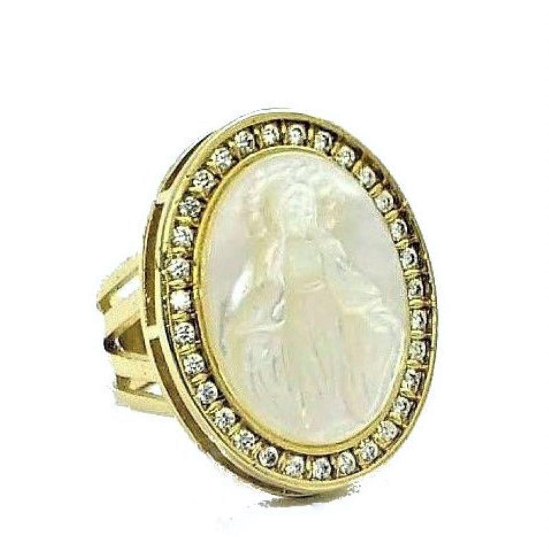 Anel Nossa Senhora Das Graças Madrepérola Cravejado Zirconias Banho De Ouro 18k 1782