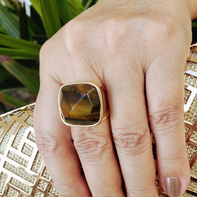 Anel Com Pedra Natural Olho De Tigre Banho De Ouro 18k 2217