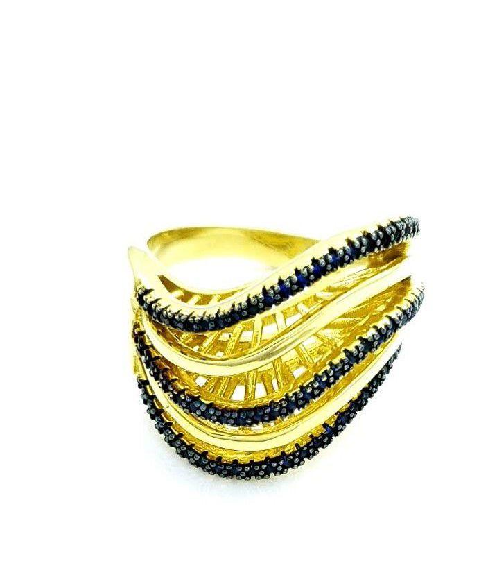 Anel Ondas Cravejado Com Microzirconias Banho Ouro 18k 3264