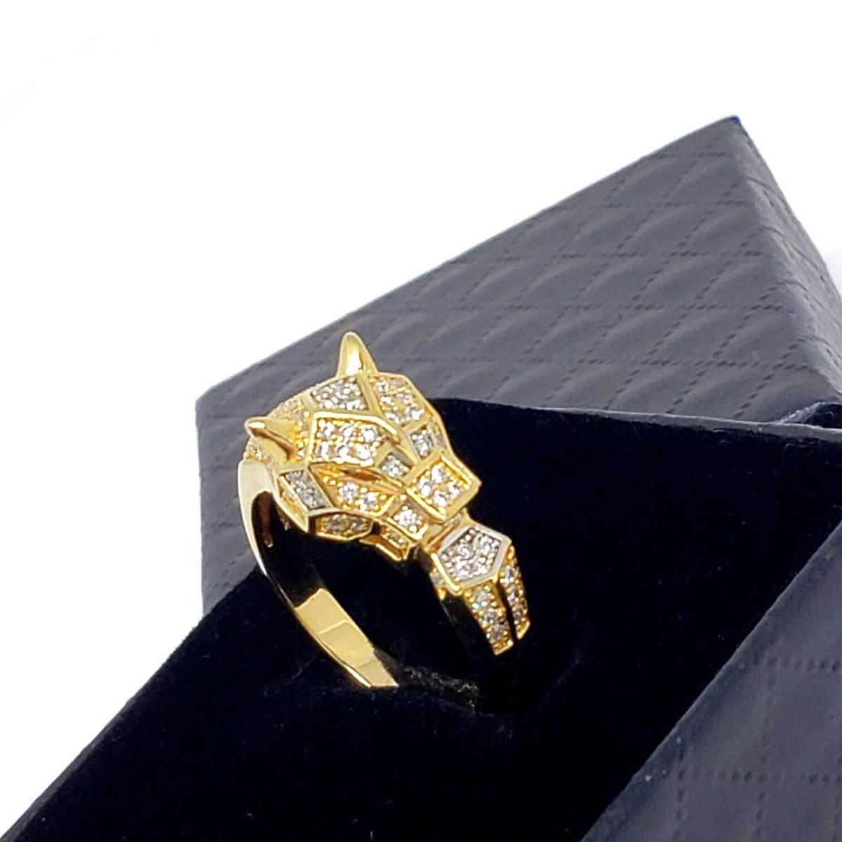 Anel Pantera Jaguar Cravejado De Zirconias Banho De Ouro 18k 1436
