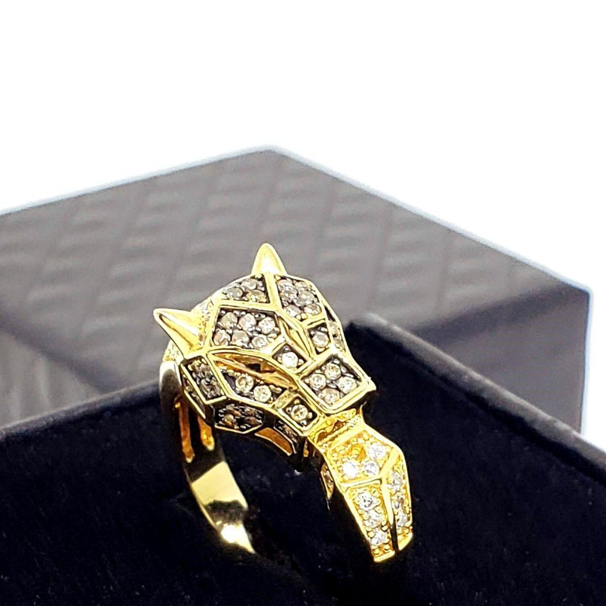 Anel Pantera Jaguar Cravejado De Zirconias NegrasBanho De Ouro 18k 1437