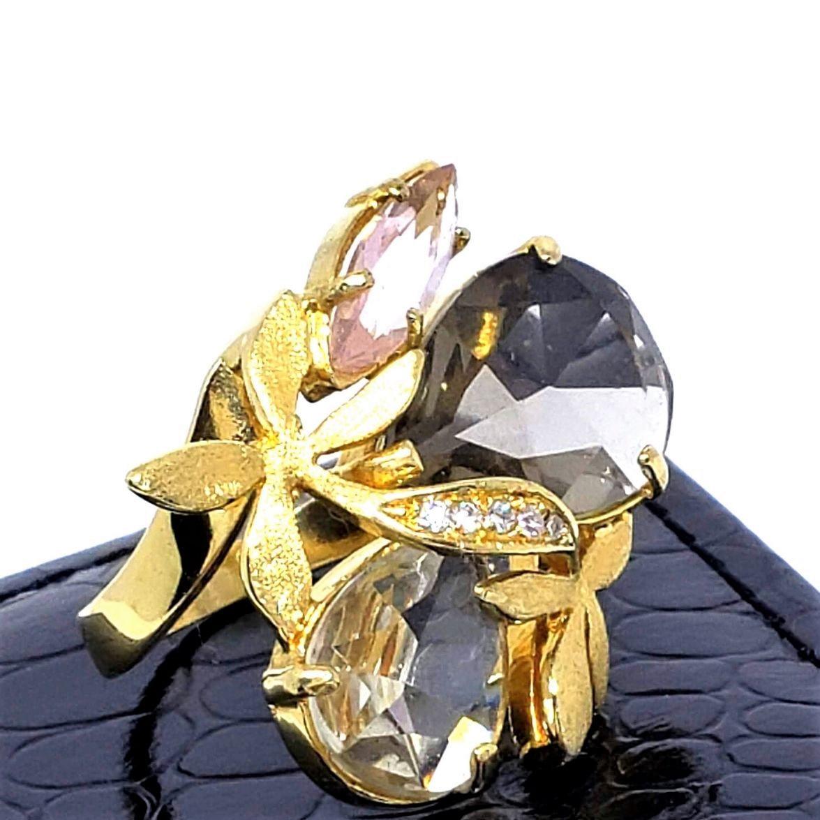 Anel Pedra Cristal E Ramos Cravejados De Zirconias Banho De Ouro 18k 1417
