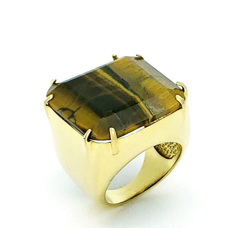 Anel De Pedra Lapidada Banhados A Ouro 18k 1056